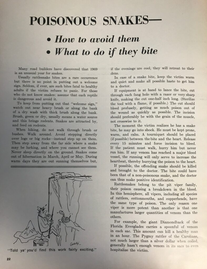 Photo of snake article CPI printed in 1969