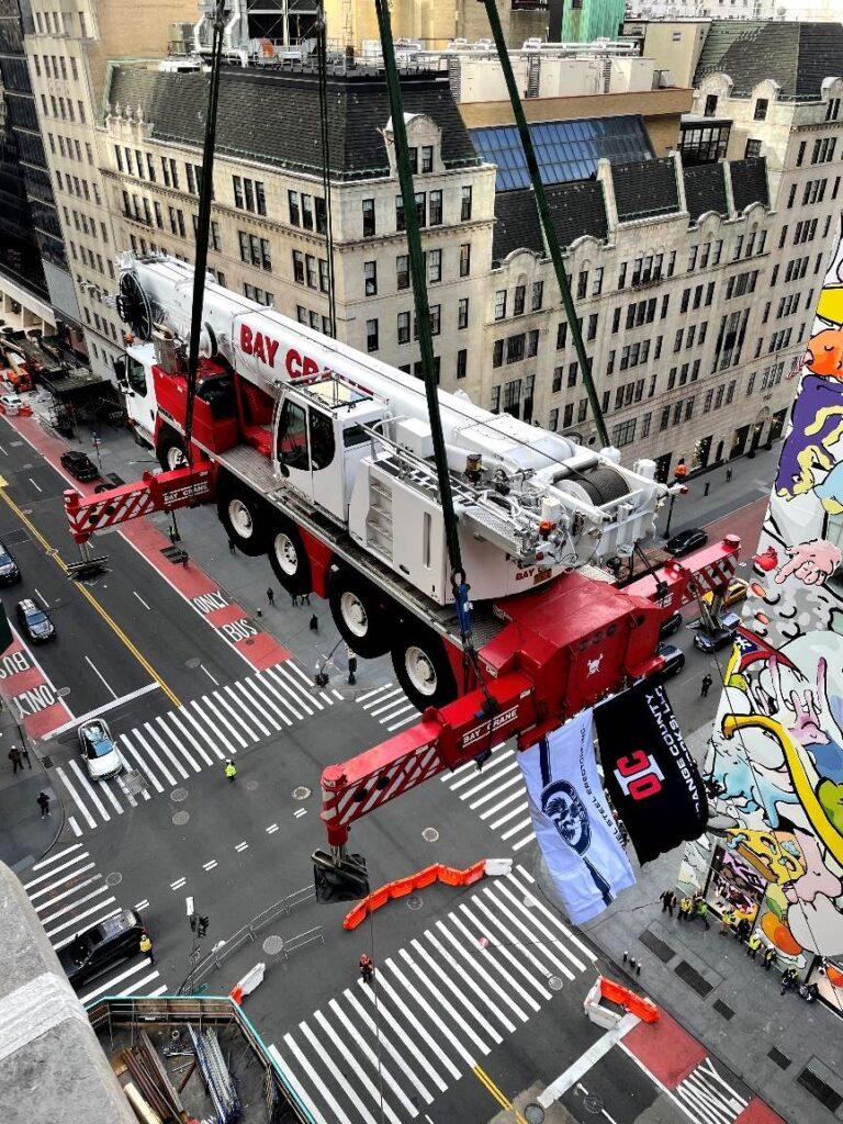 Crane flies over New York City