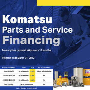 Komatsu parts and service promotion! Act now for 0.99% financing!